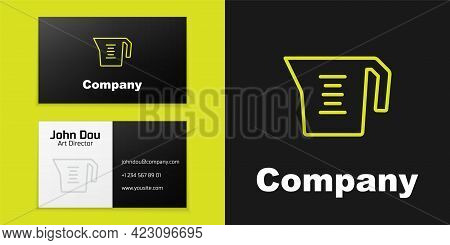 Logotype Line Measuring Cup To Measure Dry And Liquid Food Icon Isolated On Black Background. Plasti