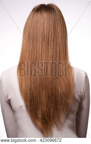 Photography Female Hairstyle Portrait Rear View Clean Straight Long Hair On White Background Close-u