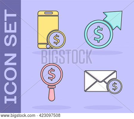 Set Envelope With Coin Dollar, Smartphone With Dollar, Magnifying Glass And Dollar And Financial Gro