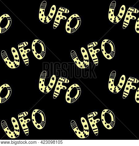 Vector Color Seamless Pattern With The Word Ufo. Background And Texture On The Theme Of Space, Ufolo