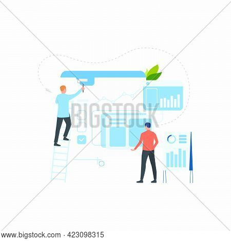 Professional Team Creating Business Solution Flat Icon. Painter, Speaker, Graphs. Teamwork Concept.