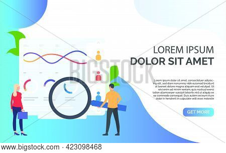 Businesspeople With Magnifying Glass At Chart Vector Illustration. Balance, Audit, Bookkeeping. Mark