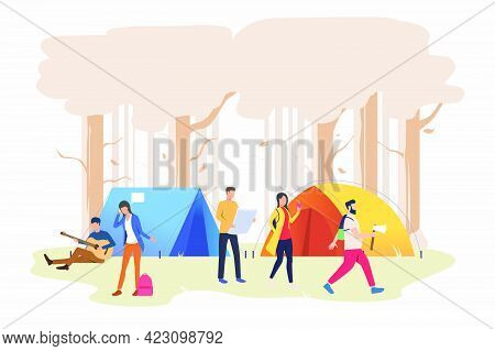 Friends Resting At Campsite In Wood Vector Illustration. Vacation, Hiking, Recreation. Tourism Conce