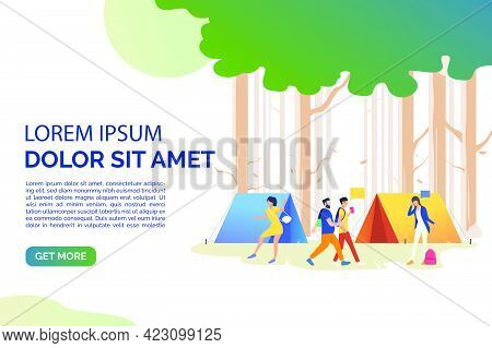 Slide Page With Tourists Communicating At Campsite Vector Illustration. Recreation, Camping, Weekend