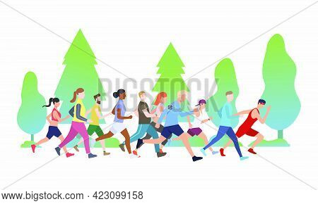 Sporty People Running Marathon In Park Vector Illustration. Jogging, Competition, Race. Sport Concep