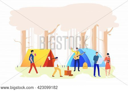 Tourists With Tents At Campsite Vector Illustration. Outdoor Weekend, Camping, Hiking. Tourism Conce