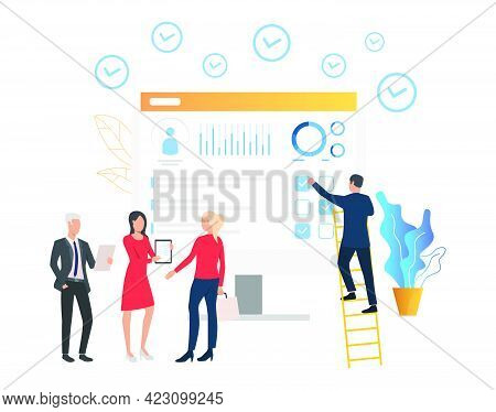 Business People Showing Document To Client. Computer, Profile, Diagram. Employment Concept. Vector I
