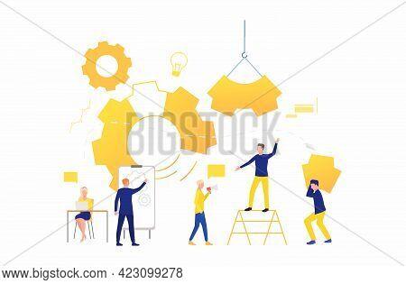 Business Team Working As Mechanism. Operation, Teamwork, Brainstorming. Management Concept. Vector I