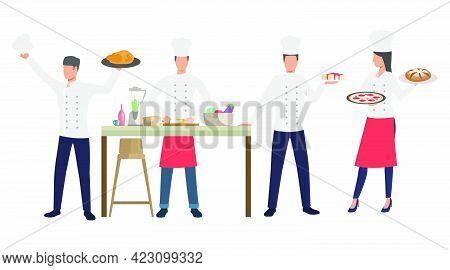 Cooks With Dishes In Restaurant Kitchen. Dinner, Cuisine, Food Concept. Vector Illustration Can Be U