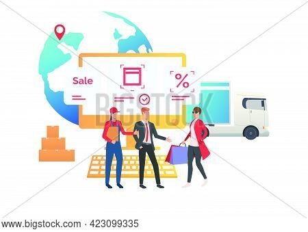 Courier And Sales Agent Meeting Consumer In Internet Store. Buying, Purchasing, Ordering, Delivery.