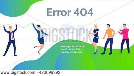 Error Website Design Template.people Unplugging Socket. Disconnection Concept. Vector Illustration C