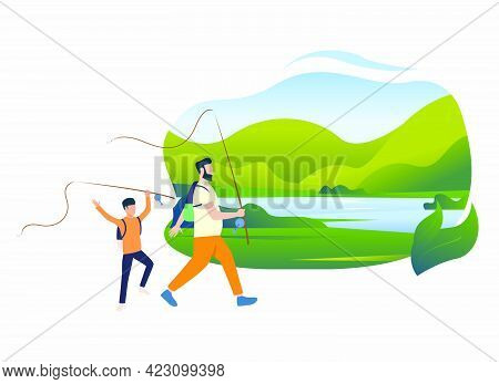 Father And Son Holding Fishing Rods, Landscape With Lake. Holiday, Tourism, Summer Concept. Vector I