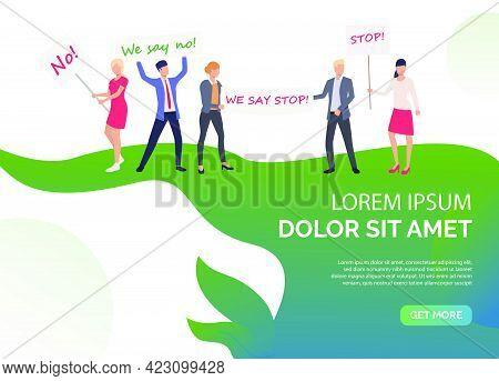 Feminism Presentation Slide Template. Women Holding Big Banners With Inscripiton. Vector Illustratio