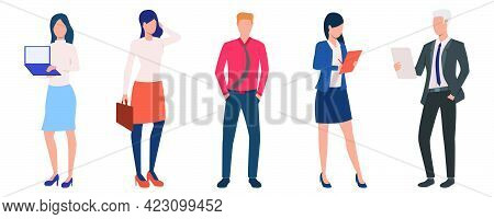 Group Of Young Male And Female Entrepreneurs. Set Of Business People With Documents And Devices. Vec