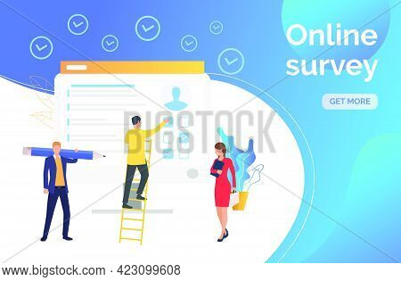 Man Answering Survey On Computer Monitor. Headhunting, Feedback, Customer Research. Online Survey Co