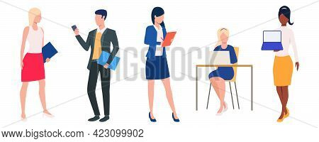 Set Of Men And Women Wearing Business Clothes. Cartoon Characters Communicating In Office. Vector Il