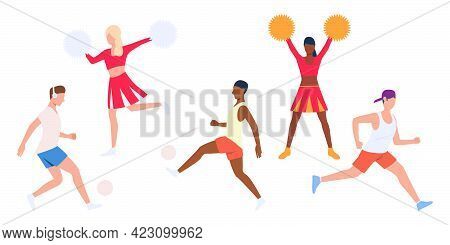 Set Of Players And Cheerleaders. Men Running With Balls, Girls Dancing With Pompoms. Vector Illustra