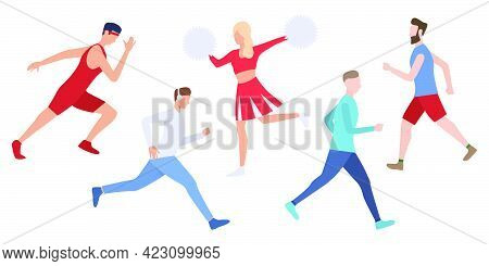 Set Of Runners Training Outdoors. Crowd Of Young People Preparing For Marathon. Vector Illustration