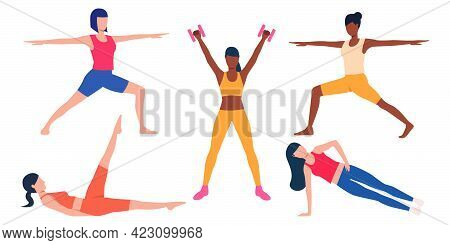 Set Of Slim Girls Exercising. Group Of Multiethnic Girls Training At Home. Vector Illustration Can B
