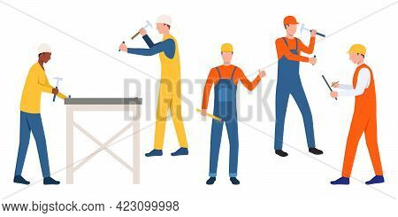 Set Of Workmen In Hardhats. Cartoon Male Characters Using Hammers On White Backgrounds. Vector Illus