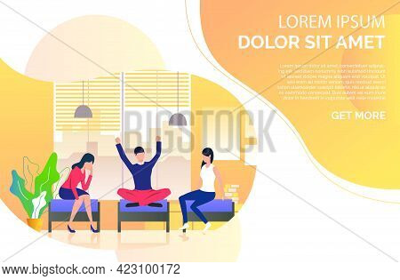 Young People Resting In Lounge. Campus, Friends, Break. Meeting Concept. Vector Illustration Can Be