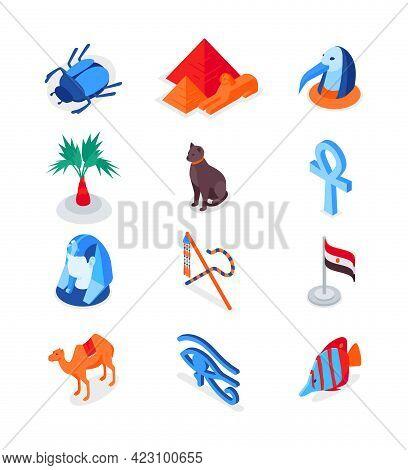 Egyptian Symbols - Modern Colorful Isometric Icons Set