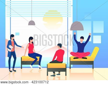 Psychologist Standing At Patients. Session, Informal Meeting, Briefing. Meeting Concept. Vector Illu