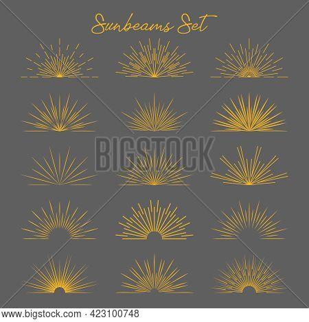 Set Of Vintage Gold Bursting Rays Flat Icon. Graphic Symbols Half Sun Sunset Firework Spark Starburs