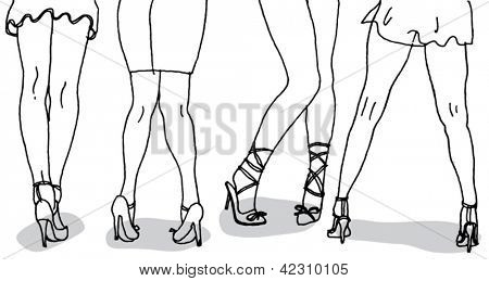 Womens Legs Hand Drawn