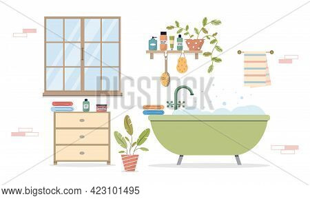 Modern Bathroom Interior. Cozy Interior With A Window And Plants. Bathroom With Furniture And Bathro