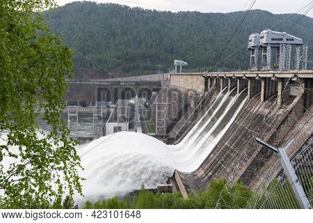 Water Drain Wave, Rapid Water Flows At The Krasnoyarsk Dam Hydroelectric Power Station In Russia. Fl