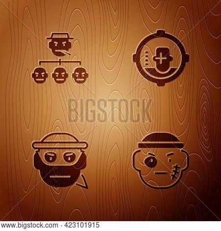 Set Bandit, Mafia, And Headshot On Wooden Background. Vector