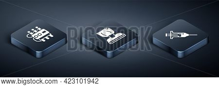 Set Isometric Dynamite And Timer Clock, Syringe And Kidnaping Icon. Vector