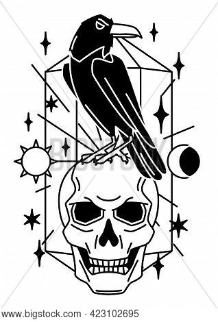 Magic Illustration With Raven And Skull. Mystic, Alchemy, Spirituality And Tattoo Art.