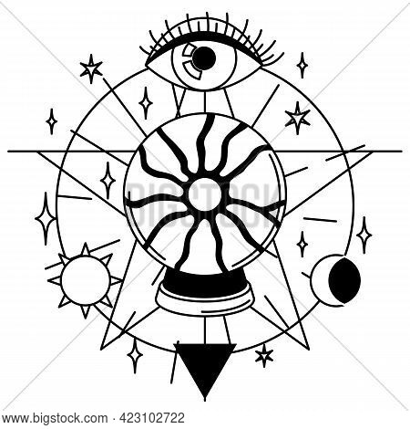 Magic Illustration With Ball Of Fate And Eye. Mystic, Alchemy, Spirituality And Tattoo Art.