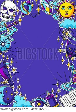 Magic Frame With Mystery Items. Mystic, Alchemy, Spirituality Symbols.