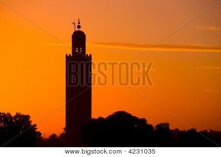 Silhouette Koutoubia Mosque  By The Sunset