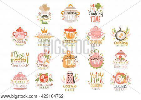 Cooking Studio Logo Templates Design Set, Culinary School Colorful Labels Vector Illustration