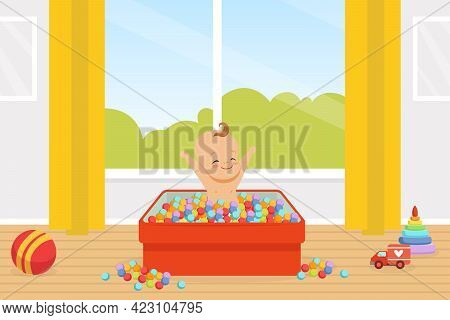 Adorable Smiling Baby Playing In Pool With Colorful Balls In Nursery Room Vector Illustration