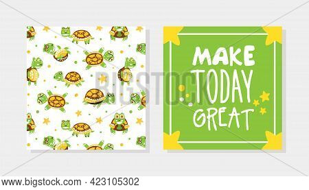Greeting Card With Happy Green Turtle With Shell Vector Template