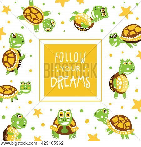 Childish Card Design With Happy Green Turtle With Shell Vector Template