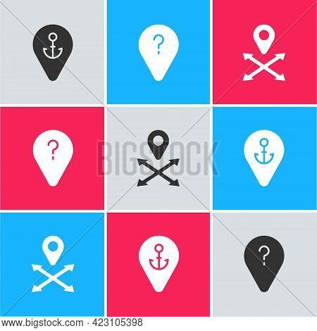 Set Location With Anchor, Unknown Route Point And Icon. Vector