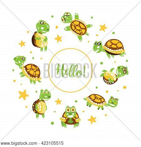 Hello Card With Happy Green Turtle With Shell Vector Illustration