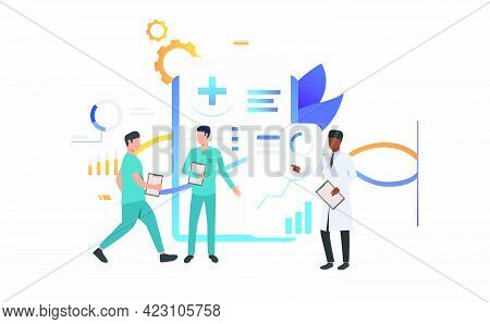 Doctor And Technicians Discussing Medical Record Vector Illustration. Medical Center, Clinic, Medica