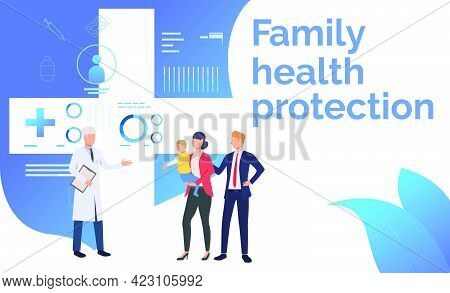 Family Visiting Doctor At Health Center Vector Illustration. Heath Center, Healthcare, Diagnostic Ce