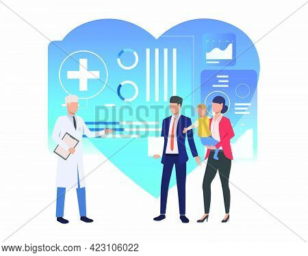 Family Visiting Modern Clinic Vector Illustration. Family Practice Center, Electronic Medical Record