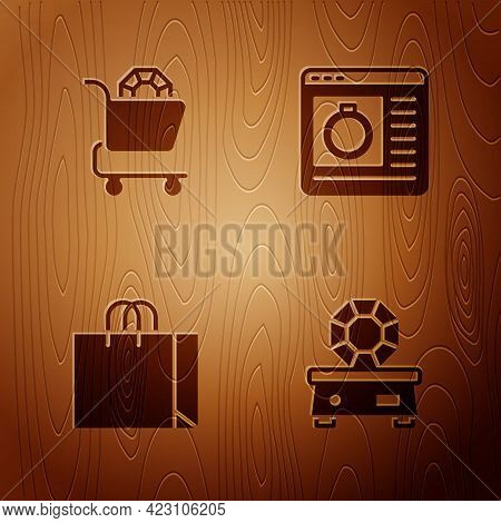 Set Gem Stone, Jewelry Online Shopping, Shopping Bag Jewelry And On Wooden Background. Vector