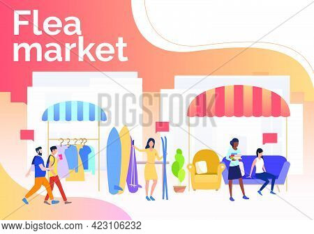 Flea Market Lettering, People Selling Clothes And Skis Outdoors. Buying, Retail, Marketplace Concept