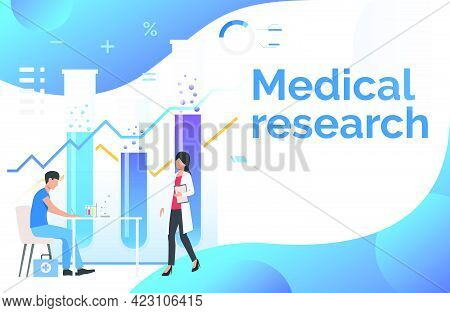 Male And Female Medics Working In Laboratory Vector Illustration. Medicine, Pharmacy, Chemistry. Med