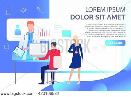 Man And Woman Using Online Medical Service Vector Illustration. Medical Website, Electronic Record,